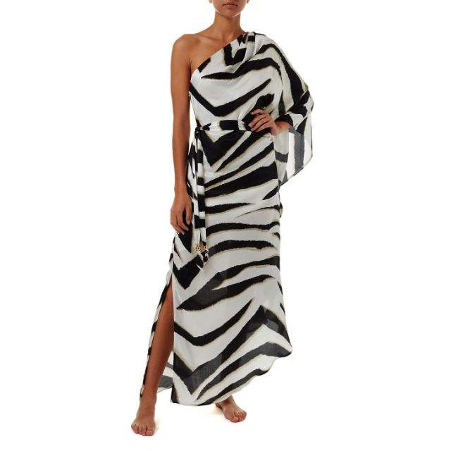 2019 women summer dresses one shoulder digital zebra print stylish boho style long kaftan