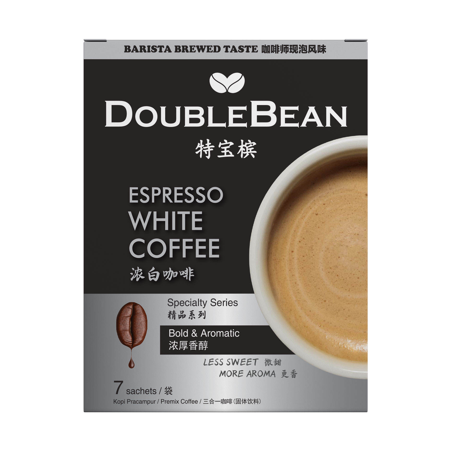 Hot Selling DOUBLEBEAN Espresso White Coffee 3 in 1 Coffee Instant Premix High Quality Premium Malaysia White Coffee
