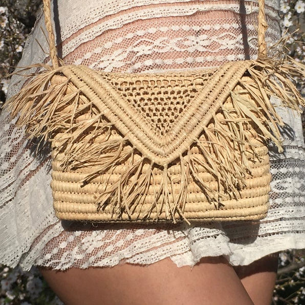 Marokkaanse Raffia Stro Cross-Body Bag