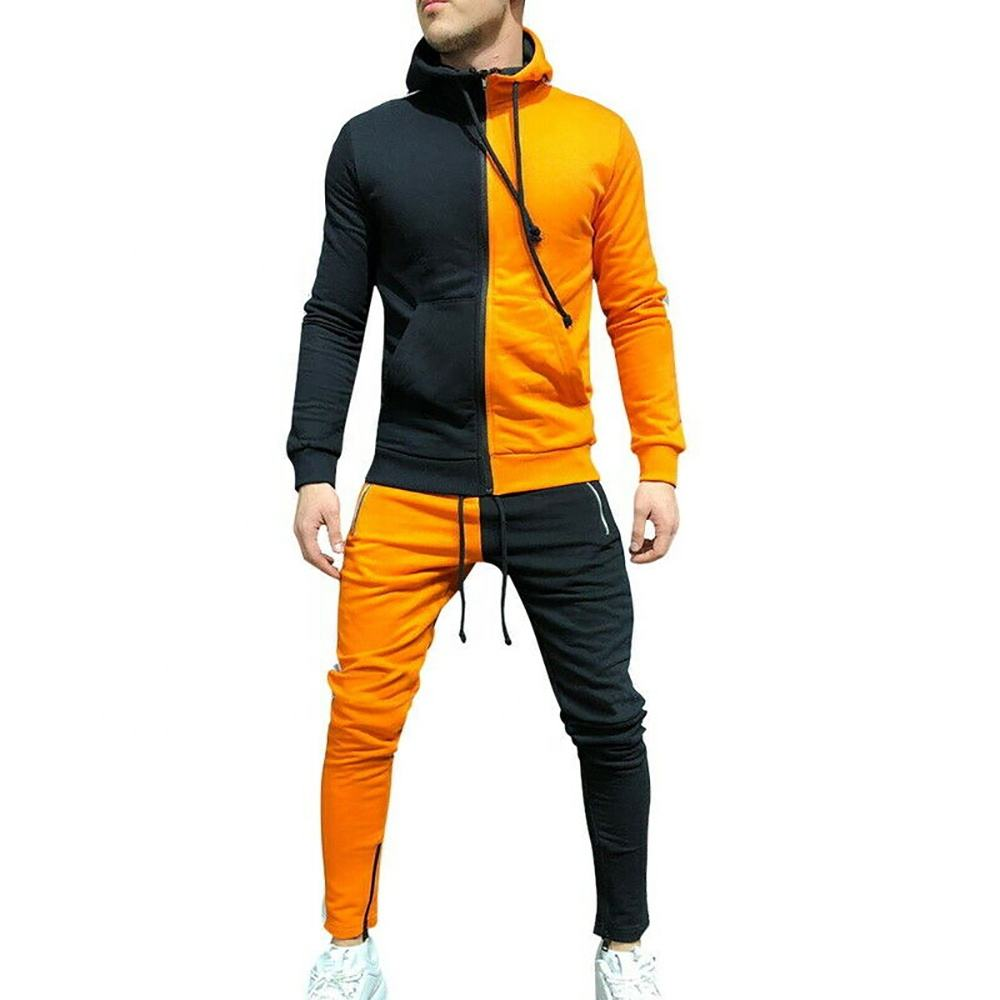 Double Color Combination Tracksuit Sweatsuit / Men Jogging Sports Color Black And Orange Tracksuit TE-TRCK-488