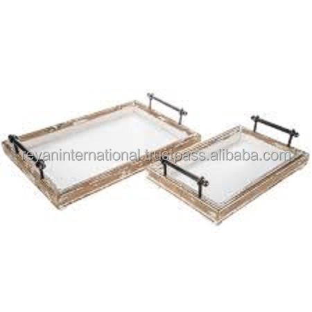White Washed Custom High Quality Wooden Serving Tray With Handles