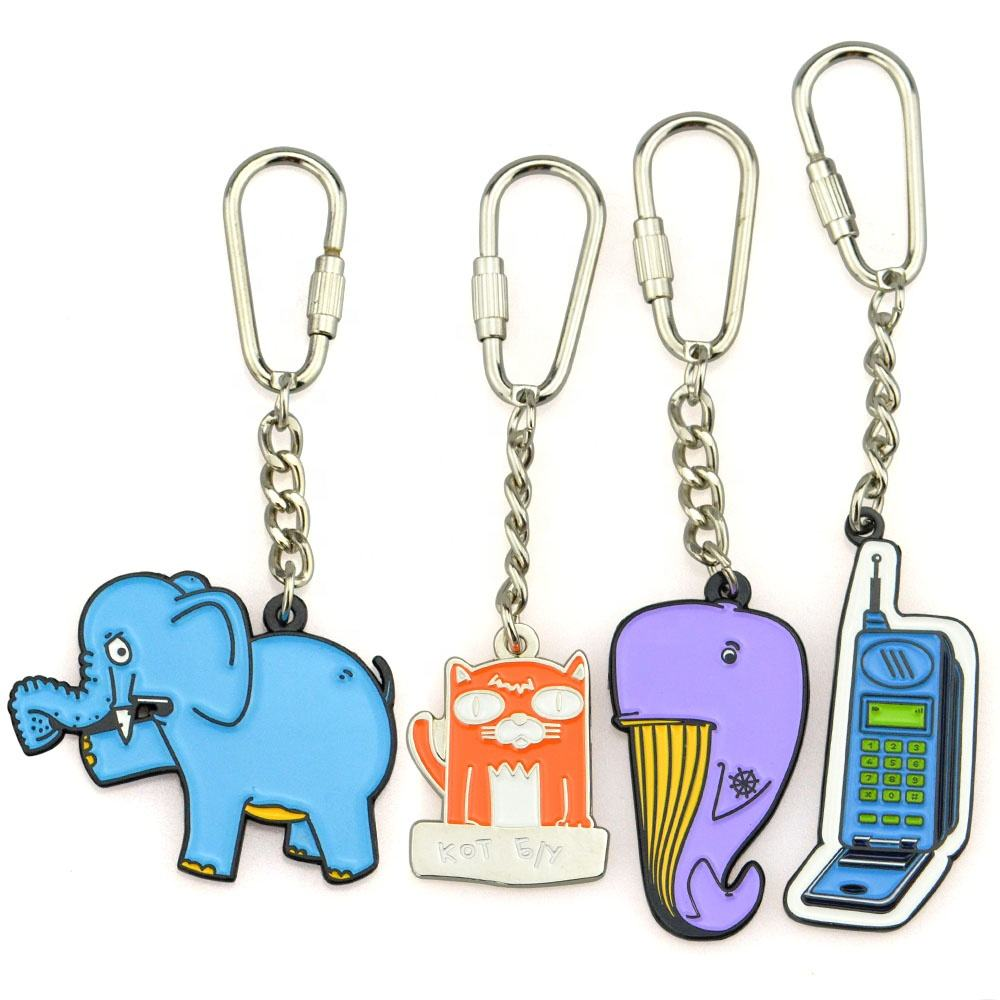 Keychain Manufacturers Wholesalers Personalized Design Custom Name Logo Animal Molds Fashion Enamel Metal Keychain