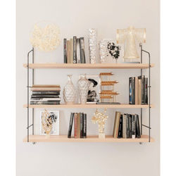 Solid Natural Wood Large 3-Tier Wall Shelf, Bookcase