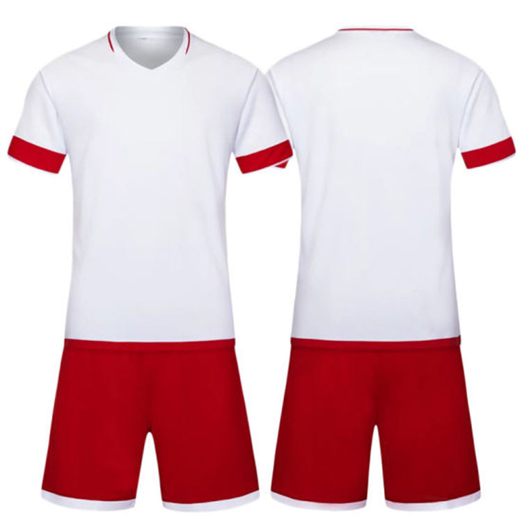 Manufacture Adult Team Soccer Uniform White Shirt And Red Short Dry Fit Soccer Suits