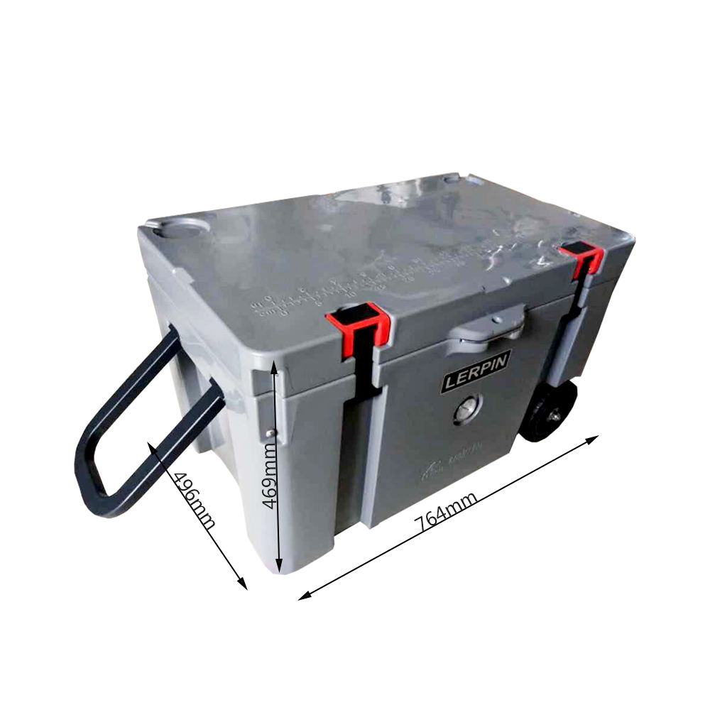 70QT Portable Keeps Ice up to 7 Days Heavy Duty Ice Chest Ideal Tailgating Outdoor Activities, Polyethylene, Haze Gray