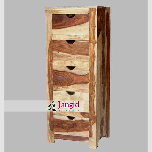 wooden natural sheesham wood narrow chest of drawers with 5 drawers