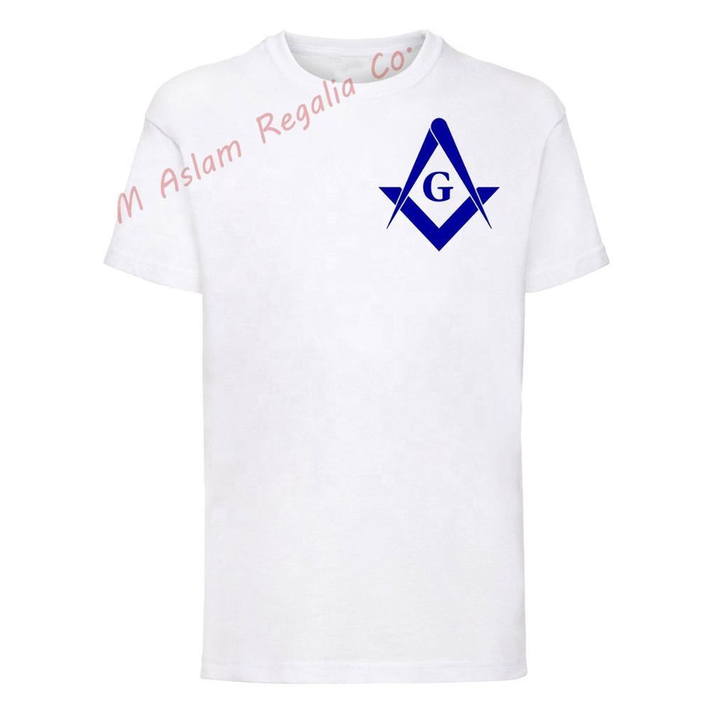 Plain White Cotton T Shirt with Blue Masonic Emblem
