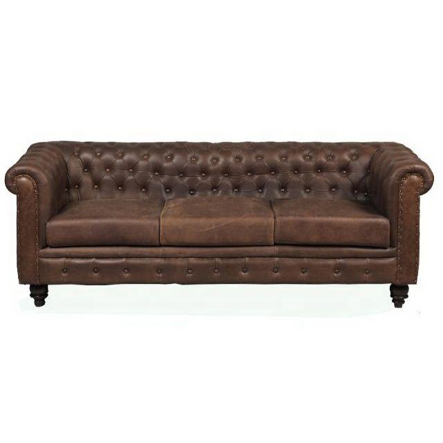 Modern living room furniture three seat Brown chesterfield leather sofa