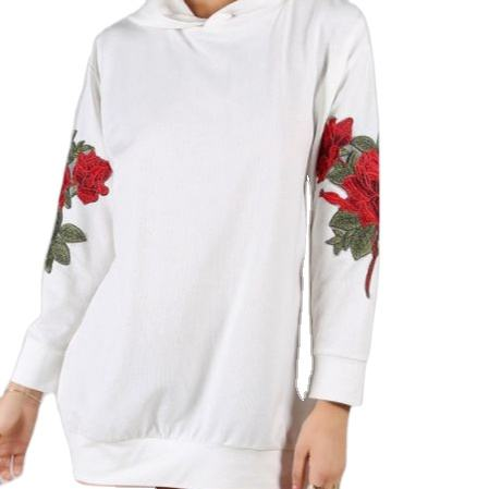 New Fashion Girly White Oversized Hoodie Embroidered Floral Flowers Long Sleeve Pullover Hoodie Sweatshirt