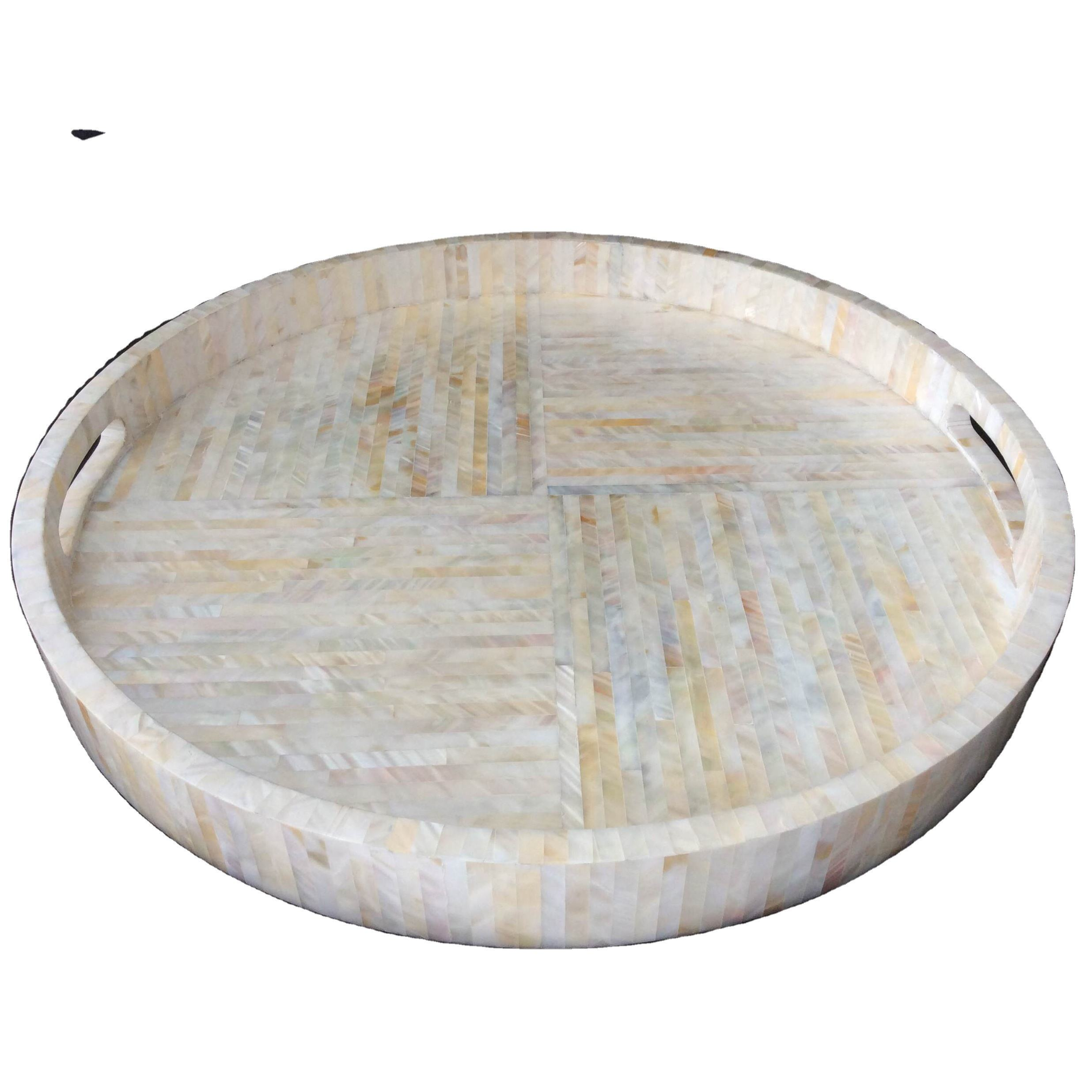 High quality round natural Mother of pearl tray with handle from Vietnam
