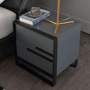 Dark grey color Bed stand Luxury Bedside Table With Drawers