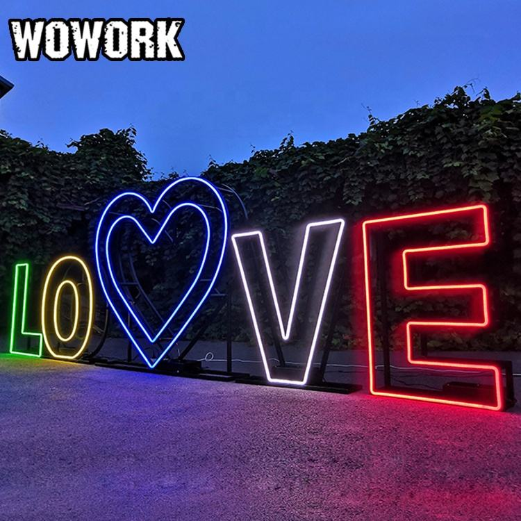 2020 WOWORK new arrivals custom send beach outside 3D metal geometric wire frame numbers with neon letter for birthday party