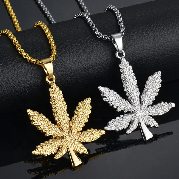 Modieuze 24K Vergulde Weed Herb Leaf Charm Punk <span class=keywords><strong>Ketting</strong></span> En Tarwe Chain Hiphop Pot