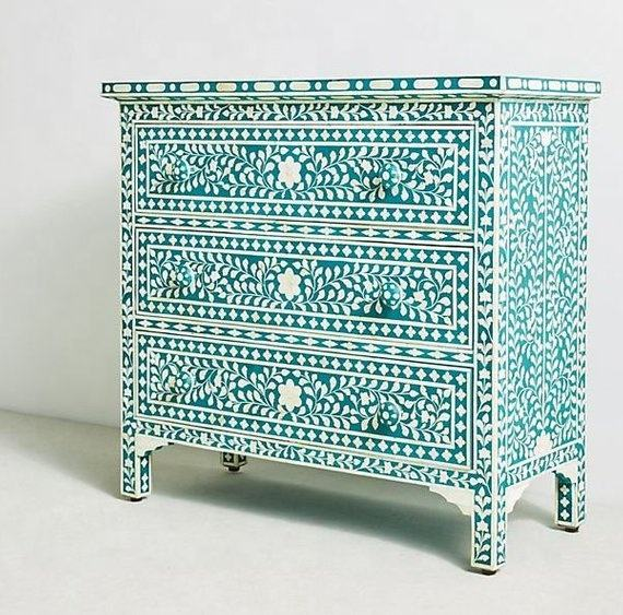 Bot Inlay <span class=keywords><strong>Borst</strong></span> Van 3 Lade Bone Inlay Light Sea Green Bloemen Woonkamer Dressoir Bone Inlay Meubels