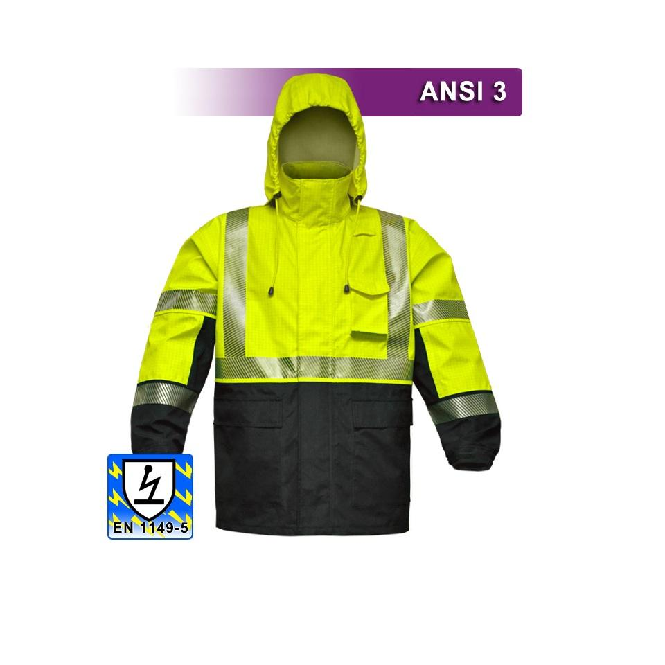 Safety Jacket: Hi Vis Anti-Static Parka: Breathable Waterproof: FR Features