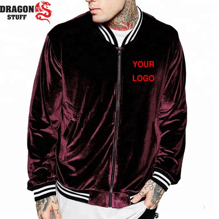 custom bomber jacket velour suede with custom design and logo / oem custom bomber jacket men & women / zipper closure jacket