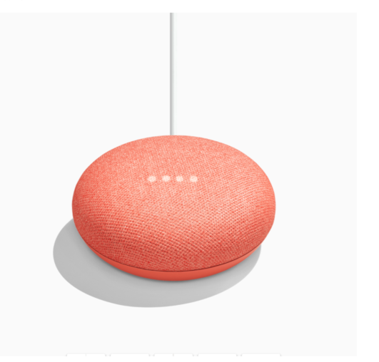 Google Nest Mini 2nd With Google Assistant - Chalk/Charcoal/Coral - Factory Seal Free Delivery