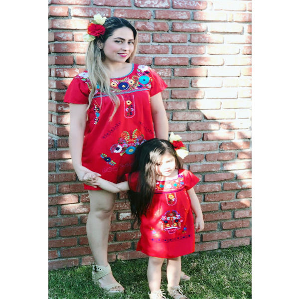 Cute Little Baby Girl Summer Mexican Embroidered Dress Birthday Outfit Family Matching Clothing Mom And Baby Girls Tunic