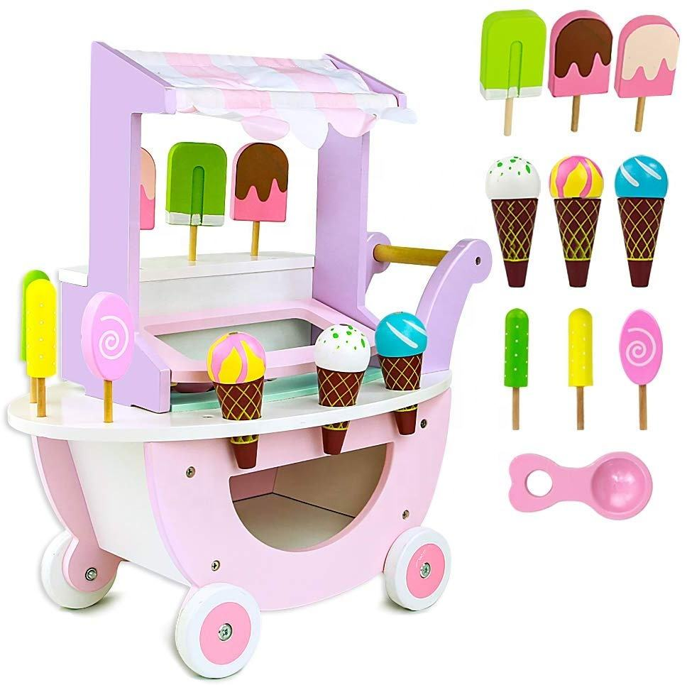 Ice Cream Sweet Cart Wooden Play Shop Toys Scoop and Learn Ice Cream Cart Role Play Food Dessert Party Game Toy Set For Kid