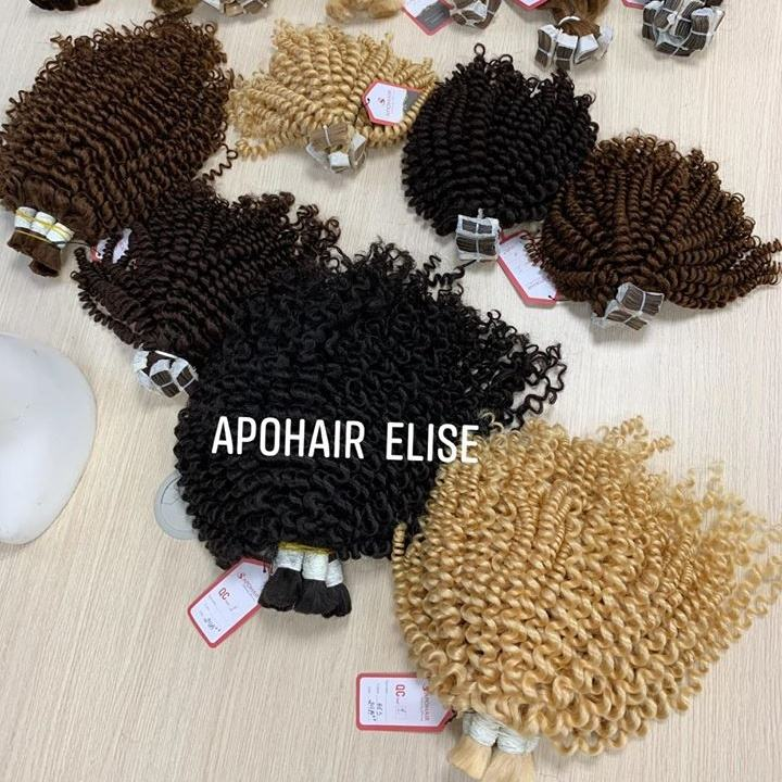 Deep curly tape hair Vietnamese human extension Virgin Cuticle Aligned Double Drawn hair grade adhesive black brown blonde
