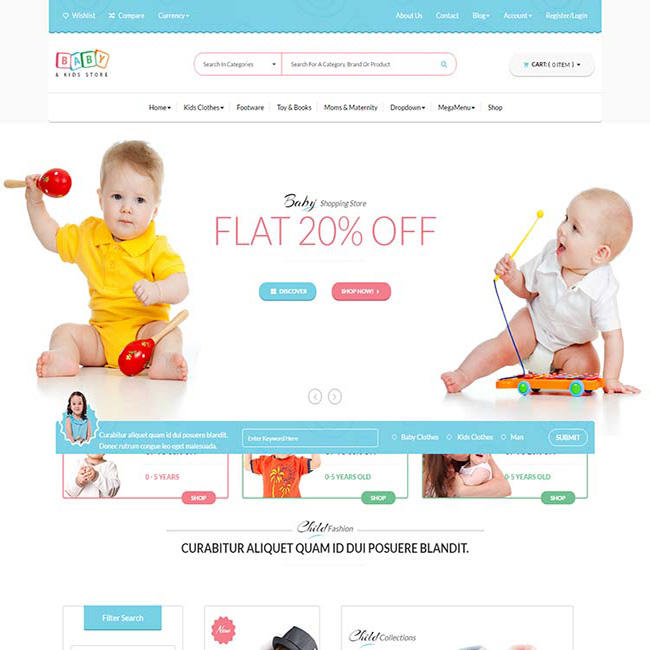 Baby Care Products Shopping Cart development web design Service