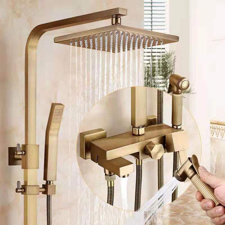 Luxury Antique Brass Bathroom Square Head Thermostatic Showers Mixer For Bath And Shower
