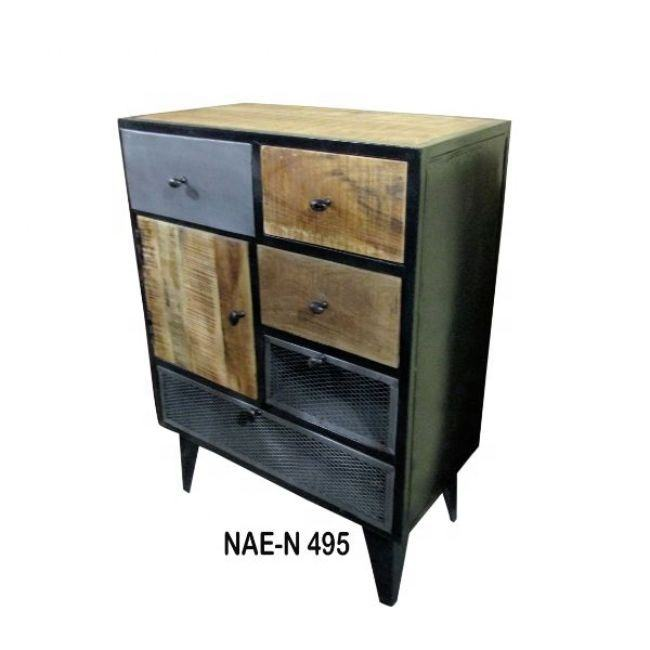INDUSTRIAL & VINTAGE LIVING ROOM IRON WOODEN RETRO CHEST OF DRAWERS