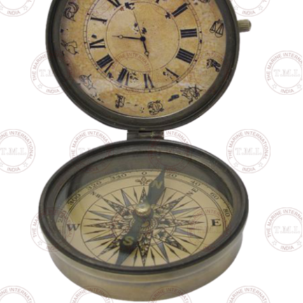 "3"" Brass Compass with clock"