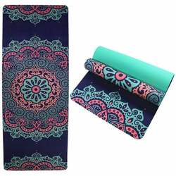 Anti fatigue private label double layer light weight washable animal bird TPE eco friendly cork rubber yoga mat with image