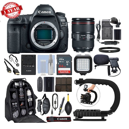 Venta al por mayor para Canon EOS 5D Mark IV DSLR cámara y 24-105mm f/4L II USM + 64GB Pro Kit de vídeo
