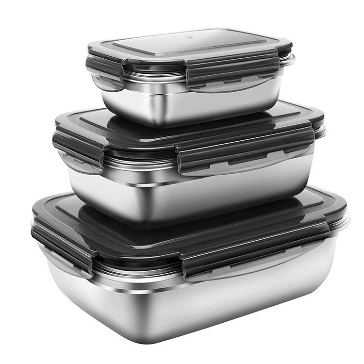 3pcs set Durable Lunch Bento Box food storage containers leak-proof lids stainless steel food containers insulated