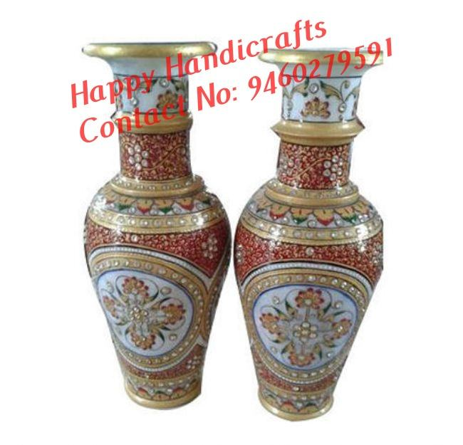 Marble Beautiful Gold Painted Flower Vase, exclusive corporate gifts Stone Work Set of 2
