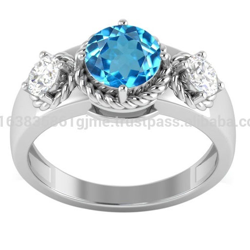 Attractive, High Quality Blue Topaz & Cubic Zirconia Gemstone Silver Women Ring Jewelry