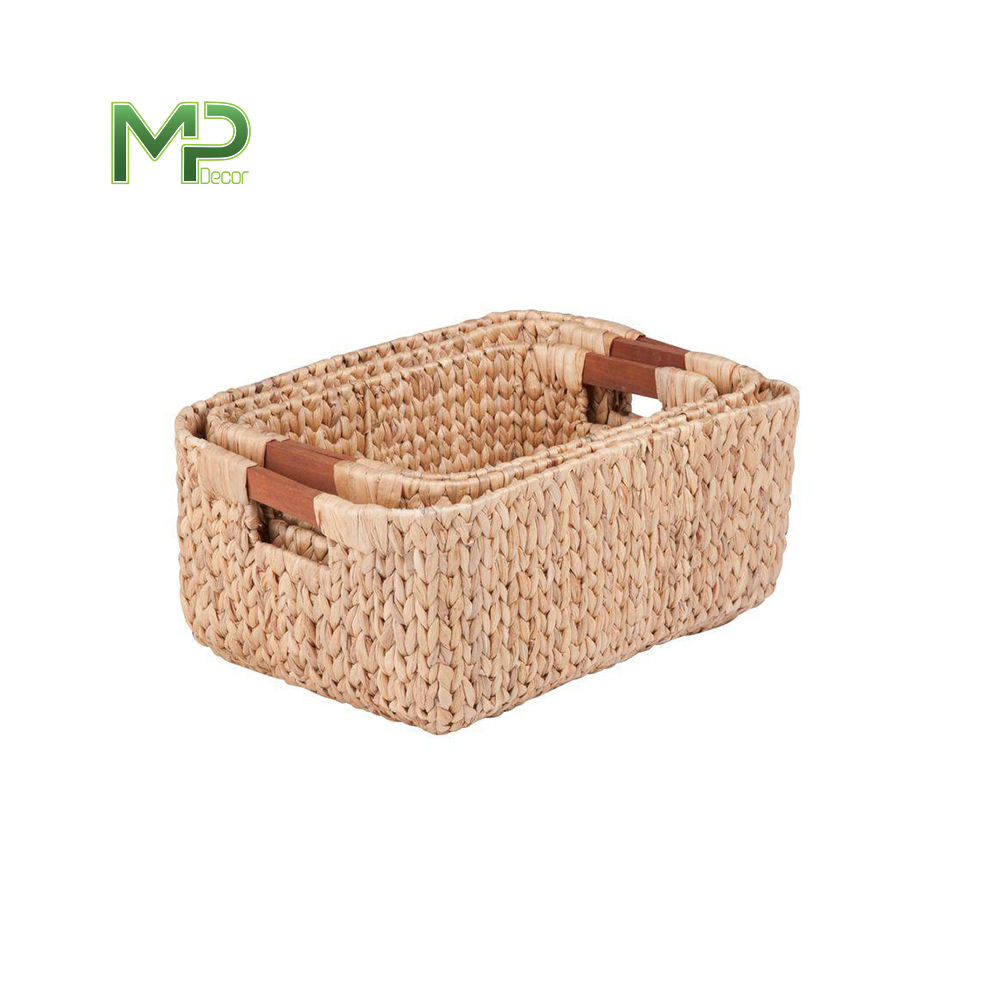 Decorative Hand-Woven Water Hyacinth Wicker Storage Baskets