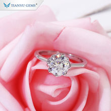 Tianyu Gem Factory Wholesale 2.0CT Solitaire Round OEC Cut Moissanite Platinum Pt950 Ring For Lady