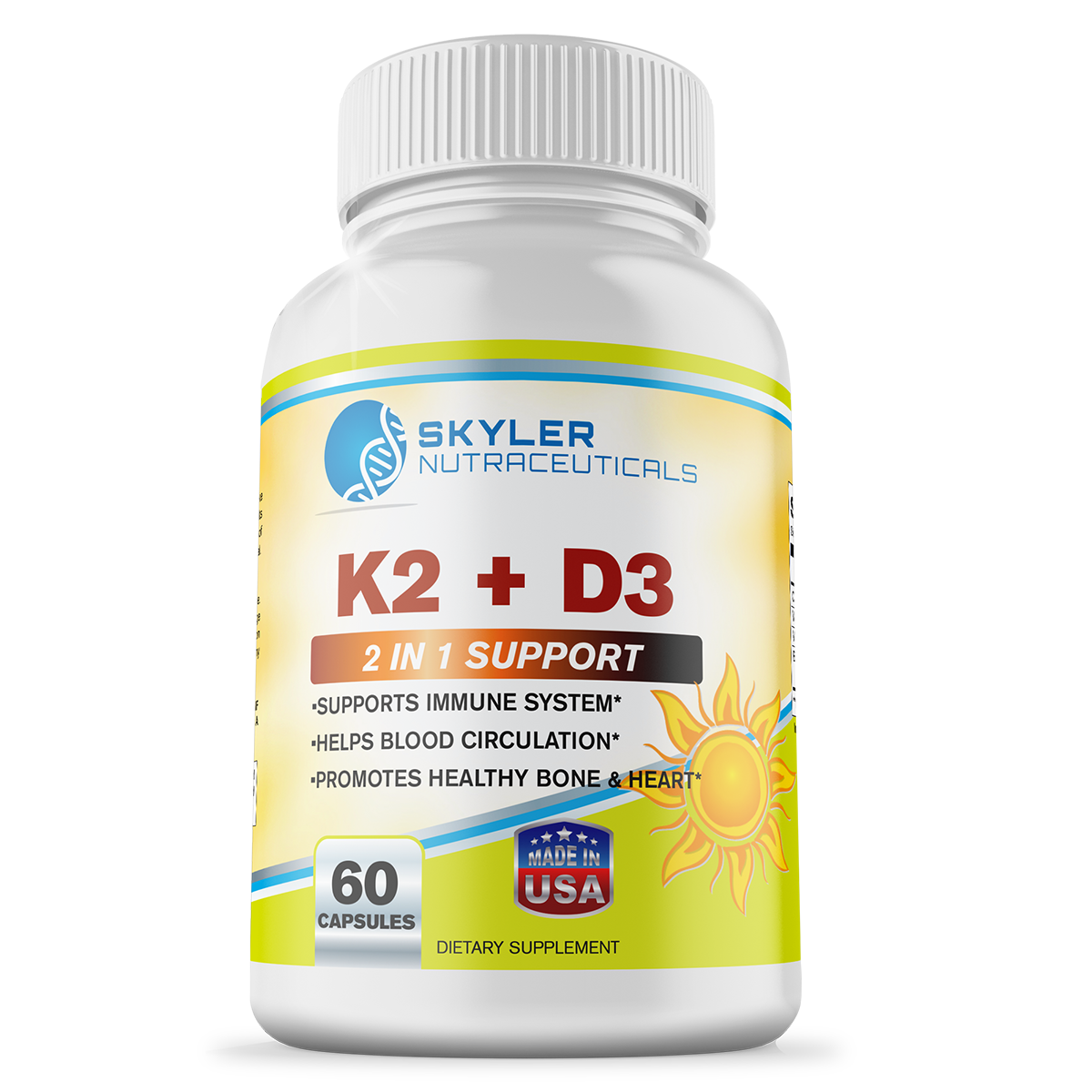 Vitamin K2 and D3 Premium Natural Dietary Health Supplement by Skyler Nutraceuticals 60 Capsules