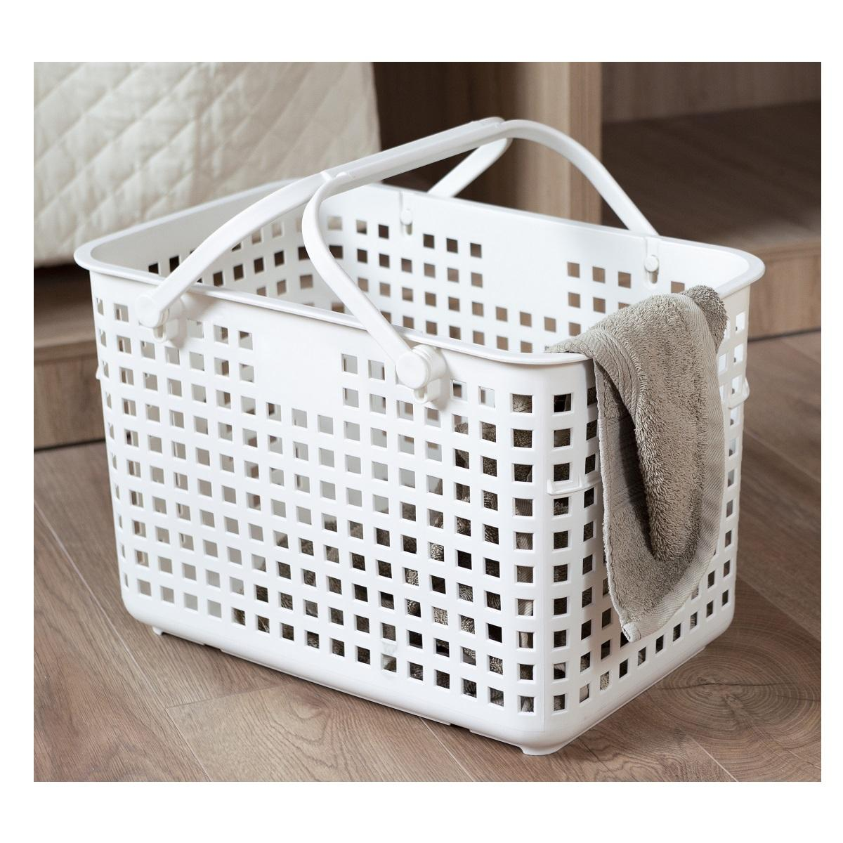 Inochi White Basket With Middle Hand Plastic Suitable For House Cool Product From Vietnam