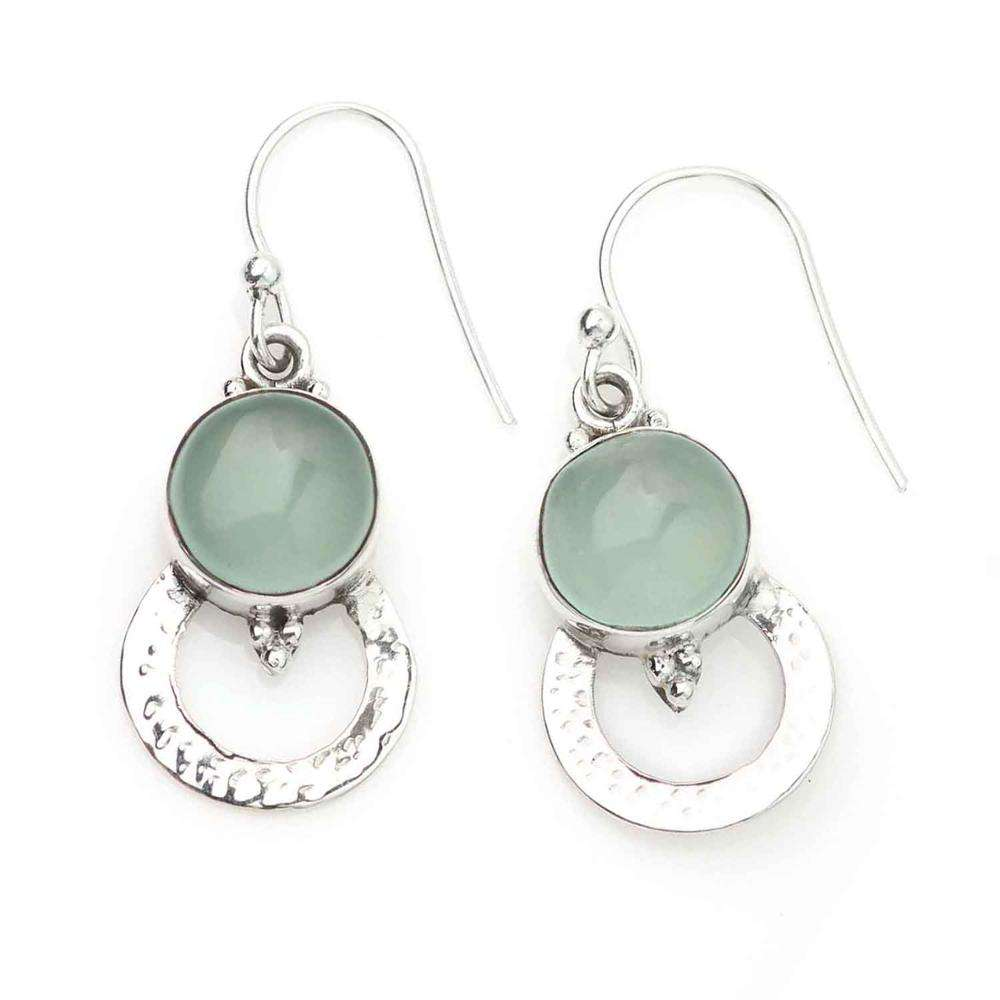 Shilpi Impex 925 Sterling Silver Heart Shaped Handmade Aqua Chalcedony Ear Wire Dangle Earrings Jewelry
