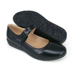 Black PVC Leather Hostel / Uniform / Formal Shoes Ladies FM68362