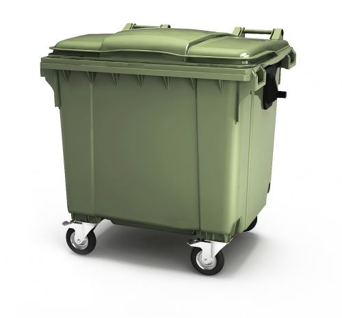 Large capacity 1100 liter plastic garbage waste bin with lid