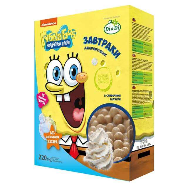 Sponge Bob amaranth breakfast in cream glaze, 220 g