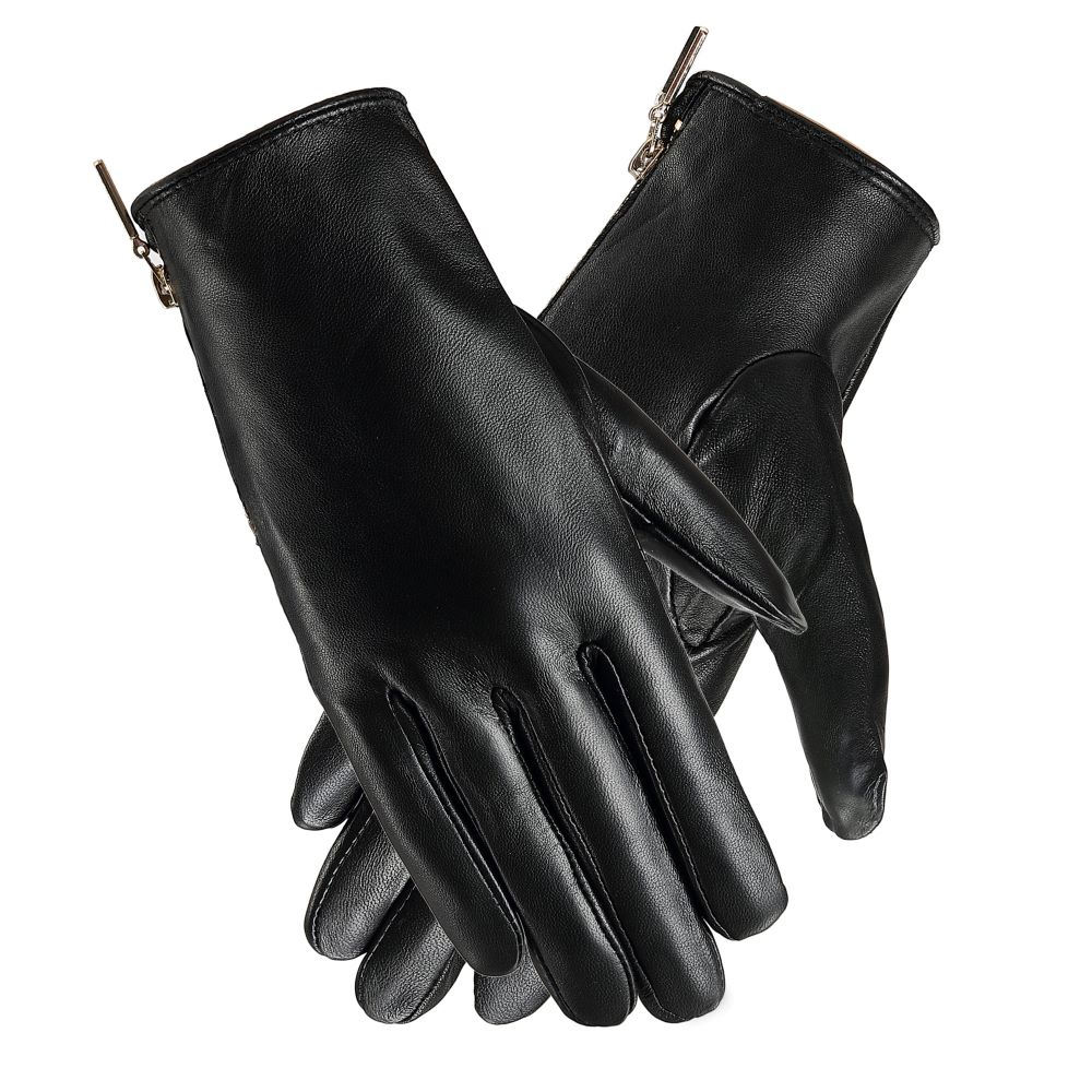 Wholesale Zipper Cuff Sheepskin Leather Glove, Winter Touch Screen Leather Gloves Use For Ladies