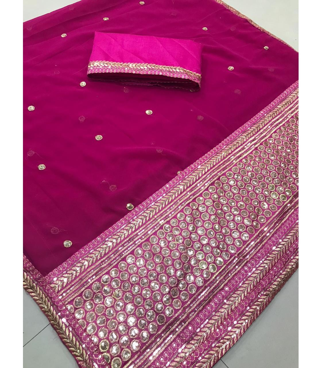 attractive party wear designer cotton silk shaded lace border stone work pink color sarees with blouse luxury wear sarees