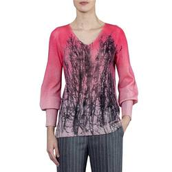 4230 CASHMERE V-NECK PULLOVER W/HAND-PAINTED  SHADOW MOTIF AND PUFFY UPPER SLEEVES