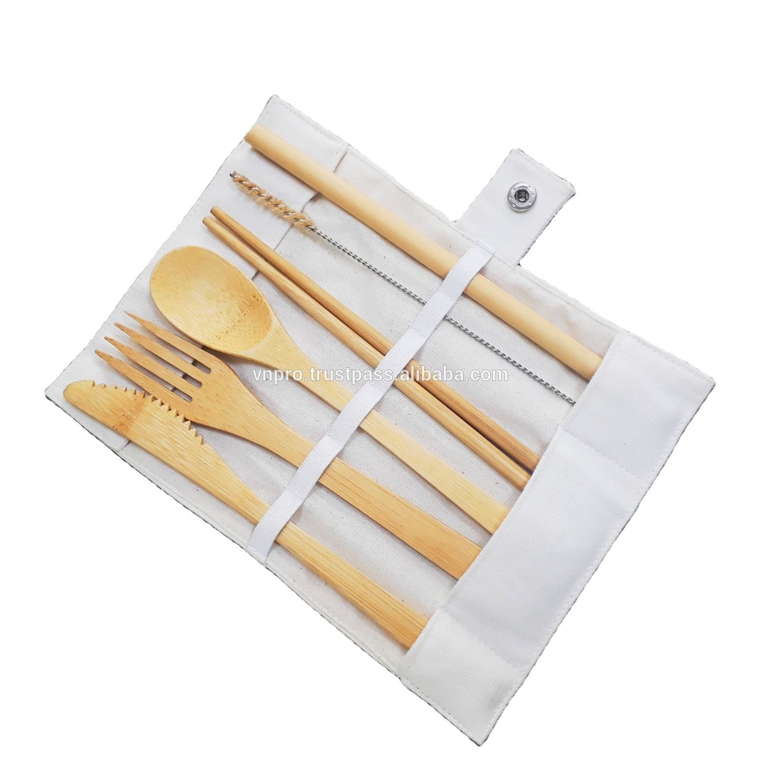 Home Party Travel Eco Friendly 7pcs Bamboo Cutlery Sets with Cloth bag Spoon Fork Knife Set Reusable Bamboo Cutlery Set