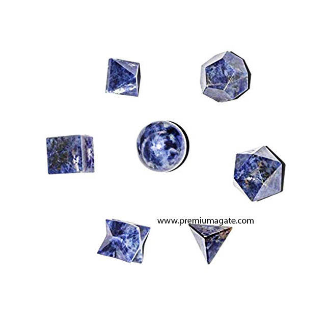 Gemstone Sodalite 7pc Sacred Geometry set : Wholesale Platonic Solid Crystals from India