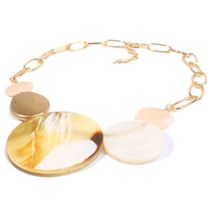 Popular Fashion Jewelry 14K Gold Chain Acrylic Acetate Choker Necklace