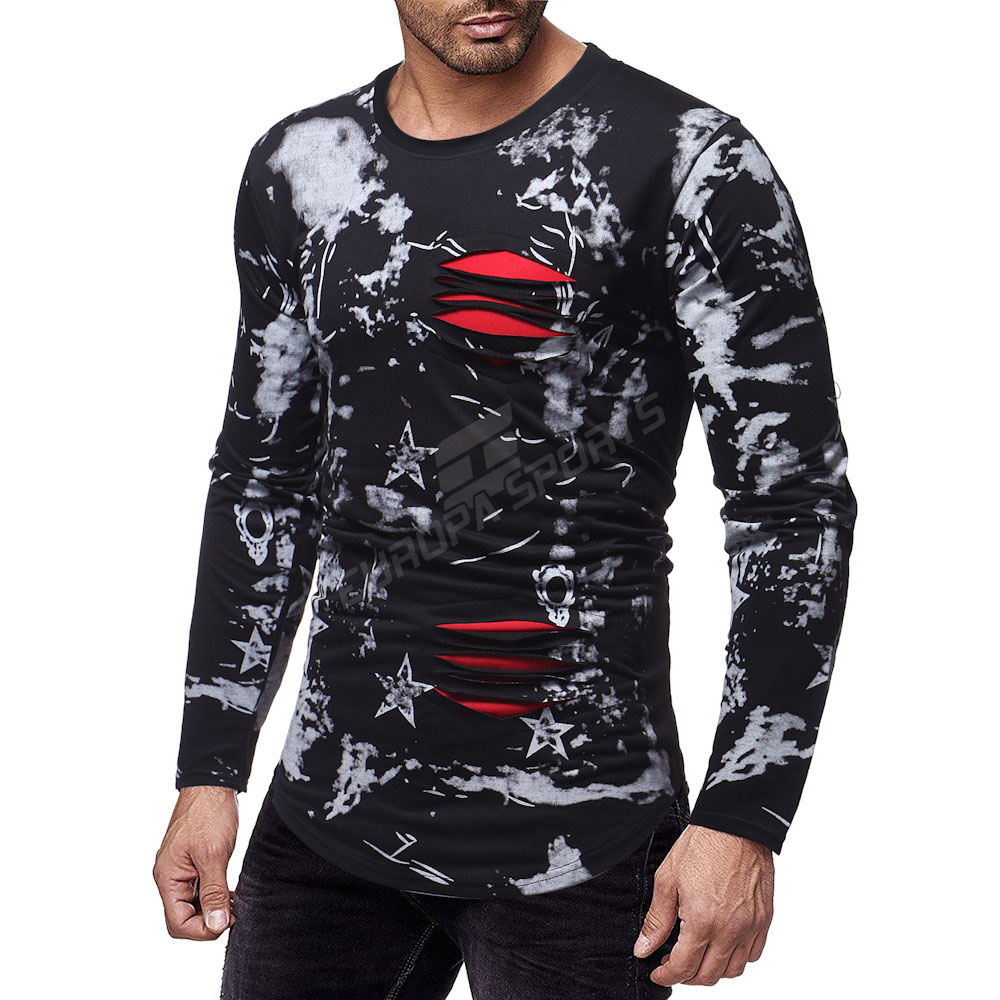 New foreign trade men's fashion one's morality leisure long-sleeved T-shirt mens clothing mens clothing men clothes