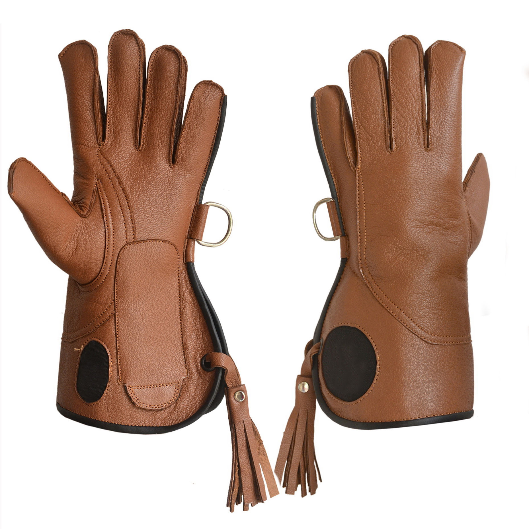 "Premium Quality Falconry Gloves gauntlet two layer glove 14"" long left hand glove brown color soft goat skin leather"