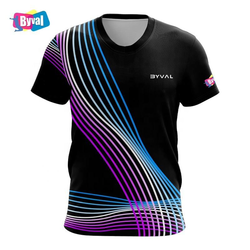 ODM Men 3D Print T Shirt 100% Polyester Quick Dry Custom Design Sublimation Printing Tshirt Sport Performance T-shirts for Mens